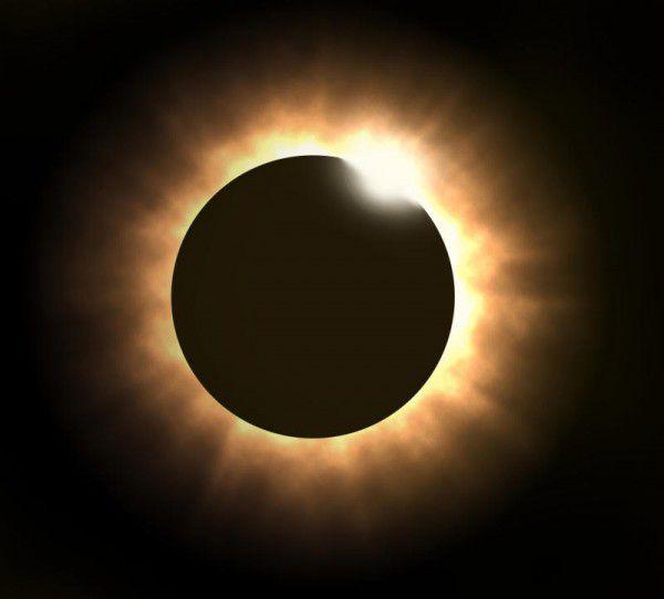 Bei der Finsternis erscheint um die Mondscheibe ein heller Ring. Shutterstock