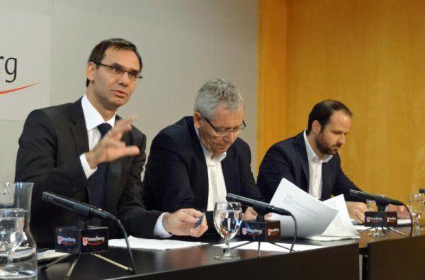 Markus Wallner, Karlheinz Rüdisser und Marco Tittler (v.l.) präsentierten Eckpunkte der neuen Verordnung.VLK/Mair