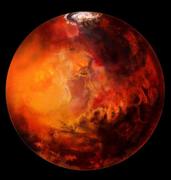 Die Färbung des Mars geht auf Eisenoxid-Staub zurück.Shutterstock