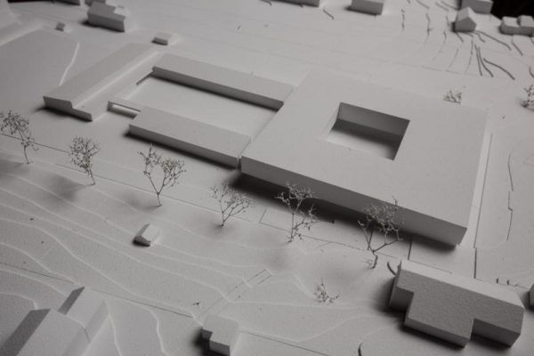 Der geplante Bildungscampus im Modell. Der neue Erweiterungsbau ist in der rechten Bildhälfte.