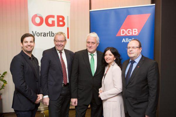 Matthias Burtscher, Karlheinz Rüdisser, Norbert Loacker, Manuela Auer und Ludwin Debong(v. l.).Hartinger (4)