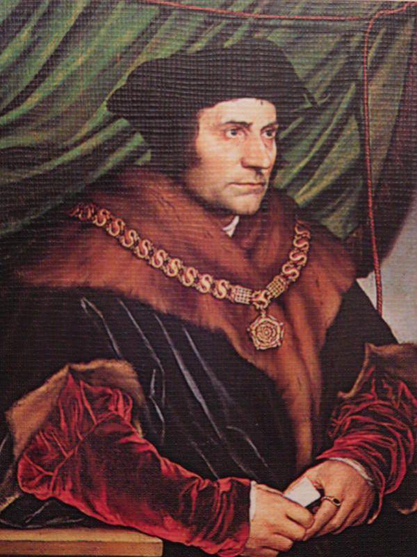 Porträt von Thomas Morus, gemalt im Jahr 1527 von Hans Holbein dem Jüngeren.