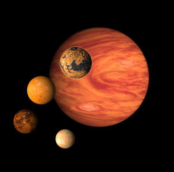 Die vier hellen Jupitermonde wechseln täglich die Position.Shutterstock
