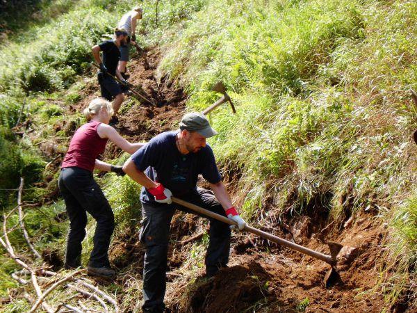 Die Arbeit ist mitunter fordernd.Bergwaldprojekt