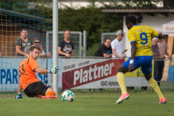 Die Emser forderten in der zweiten Halbzeit FCD-Goalie Lukas Hefel ein ums andere Mal – wie hier Ebrima Ndure.Stiplovsek