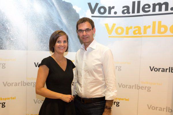 Spitzenkandidatin Martina Ess mit Markus Wallner. ÖVP Vorarlberg