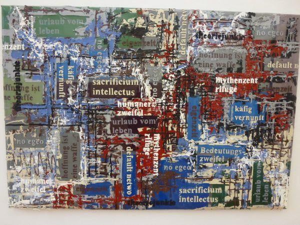 """Zu Besuch in Egenders Atelier. Kleines Bild: """"Käfig Vernunft"""", 2011, Acryl und diverse Silikone auf Astraglas.Wolfgang Ölz(1)/NEUE(1)"""