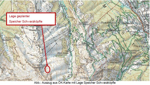 Die Zuständigen der Silvretta Montafon planen am Schwarzköpfle ein Beschneiungsprojekt mit Speichersee und Pumpstation. VLK
