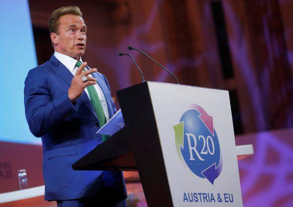 """Arnold Schwarzenegger während einer Rede während des """"Austrian World Summit"""" im vergangenen Jahr.Reuters/Archiv"""