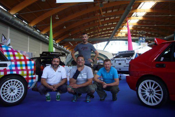Die Vertreter des Lancia Delta Integrale Clubs Montafon mit Präsident Roman Spannring (Bildmitte).Dedeleit