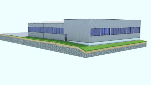 Entwurf für den Erweiterungsbau des Unternehmens Kräutler. Architekt A. Seewald