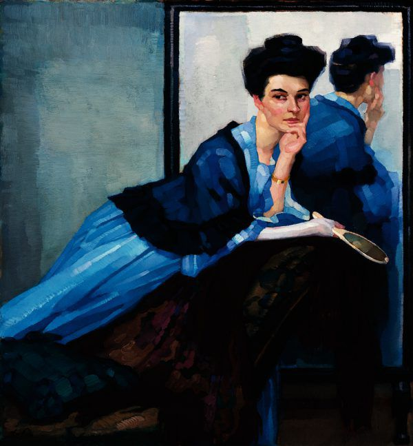 """Leo Putz, """"Dame in Blau"""", 1908 (Ausschnitt).Sammlung Siegfried Unterberger"""