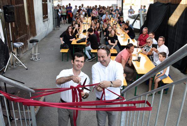 Martin Summer (l.) und Andreas Prenn (OJA-Obmann) eröffneten die Werkstatt.MG Rankweil