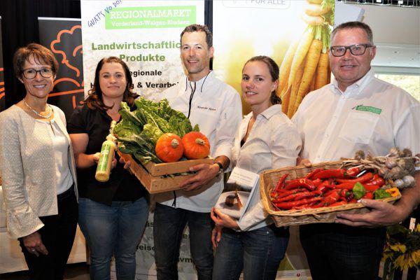 Messe-Team (v. l.): Angelika Stöckler, Initiatorin Ulrike Gstach, Hauptorganisator Ales Kovarc, Simone Aberer (Ländle Bur), und Harald Nesensohn (Regionalmarkt Vorderland). Ritter (5)
