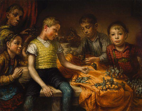 "Alfons Graber, ""Kinder mit Kriegsspielzeug"", 1939.Johannes Plattner/TLM"
