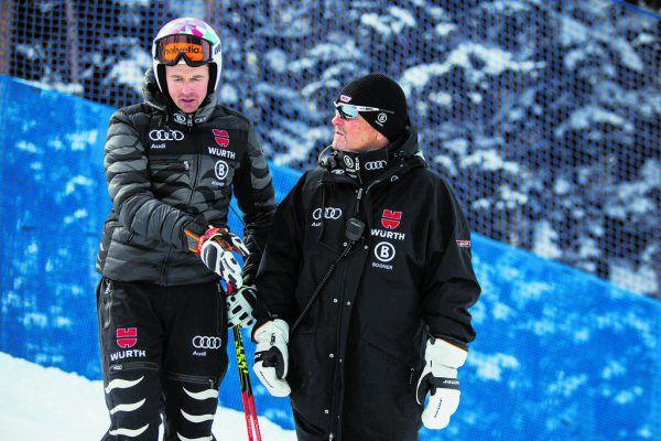 Der Gargellner DSV-Herrencheftrainer Mathias Berthold und Stefan Luitz sind aktuell ratlos.GEPA