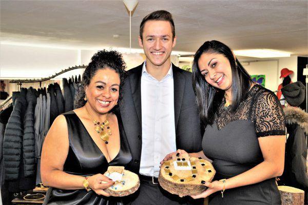 Designerin Tania Maria Rodriguez, Mister Vorarlberg 2018 Patrik Walder und Designerin Kelly Nielsen (v.l.).Ritter (5)