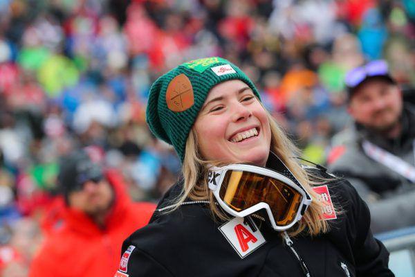 Katharina Liensberger strahlte im Ziel über Rang vier. Gepa