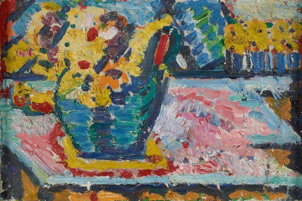 """Wolfgang Paalen, """"Paysage totémique"""", 1938. Kleine Bilder von oben: Helene Funke, """"Träume"""" und Helene von Taussig, """"Stillleben mit Blumenkrug"""", um 1920 – beide Werke sind in der Schau """"Stadt der Frauen"""" zu sehen. Infos: www.belvedere.at.Succession Paalen, The Wolfgang Paalen Society e.V. (1)/ Johannes Stoll © Belvedere, Wien (2)"""