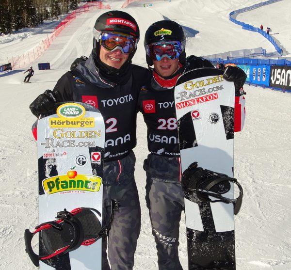 Alessandro und Luca Hämmerle (v.l.) auf der WM-Strecke.ÖSV Wieser