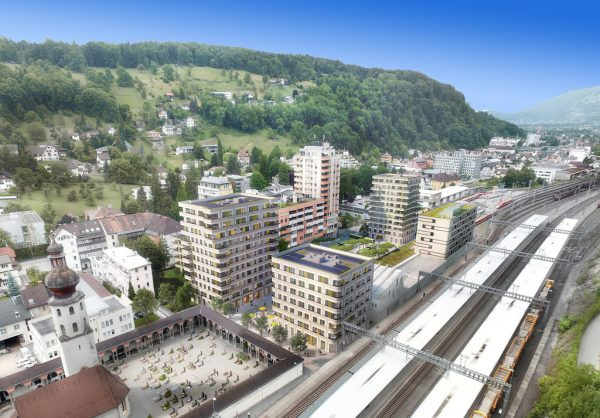 Das Umfeld des Feldkircher Bahnhofs wird bei dem Projekt neu gestaltet.Bahnhofcity, vol.at (2)