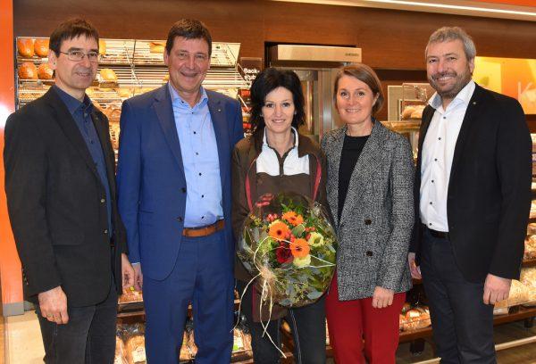 Neue Leiterin Michaela Frohnwieser (Mitte) im Spar Unterlinden in Wolfurt.Spar