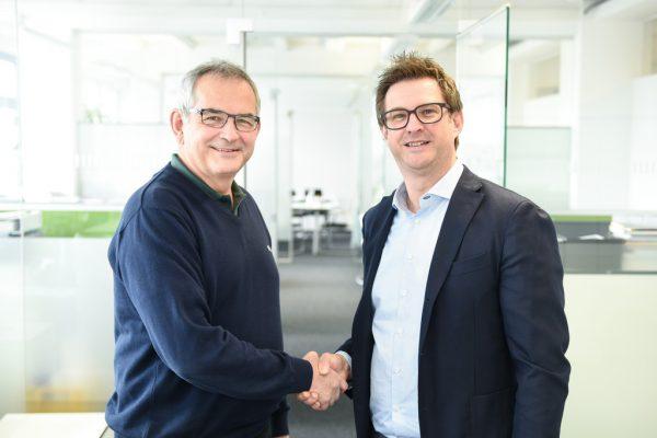 Peter Stämpfli (l.), Verwaltungsratspräsident der Stämpfli AG, und Hansjörg B. Gutensohn.Goodson Softwaresolutions