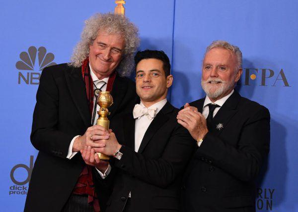 Rami Malek mit den Queen-Bandmitgliedern Roger Taylor (r.) und Brian May (l.).