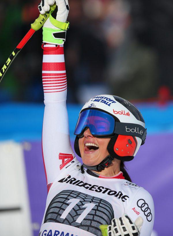 Stephanie Venier jubelte über den Garmisch-Triumph.Gepa