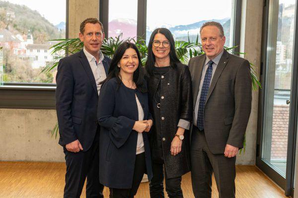 Das wiedergewählte Präsidium der AK Vorarlberg (v.l.): Vizepräsident Bernhard Heinzle (FCG-ÖAAB), Manuela Auer (FSG), Jutta Gunz (FCG-ÖAAB) und Präsident Hubert Hämmerle (FCG-ÖAAB). Jürgen Gorbach/AK