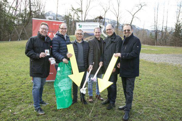Die Vertreter der Aktionsträger Markus Klement (ORF), Johannes Rauch (Land), Karl Loacker (Loacker Recycling), Martin Hundertpfund (WKV), Martin Ruepp (Stadt Dornbirn) und Rainer Siegele (Umweltverband).Maurice Shourot, Umweltverband