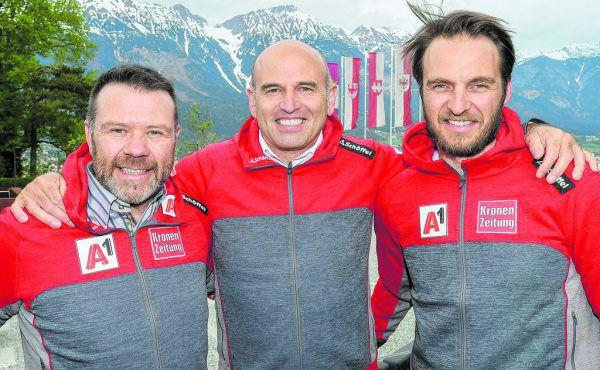 Riml (l.) und Mitter (r.) kommen neu zum ÖSV. Giger wird nach jahrzehntelanger Arbeit im Verband zum Sportchef befördert.APA