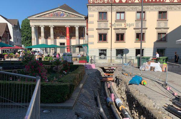 Die Verlegung der Versorgungsleitungen werden noch andauern und sollen in den kommenden Wochen abgeschlossen werden.Stadt Dornbirn