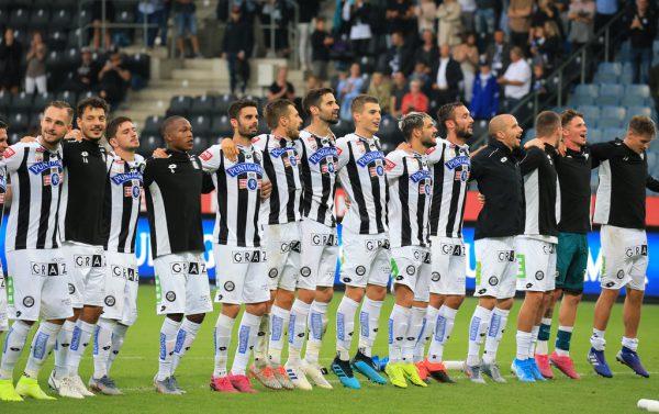 Freudige Gesichter bei den Sturm-Spielern soll es auch heute nach dem Rückspiel der zweiten Qualifikationsrunde der Europa League gegen Haugesund geben.gepa