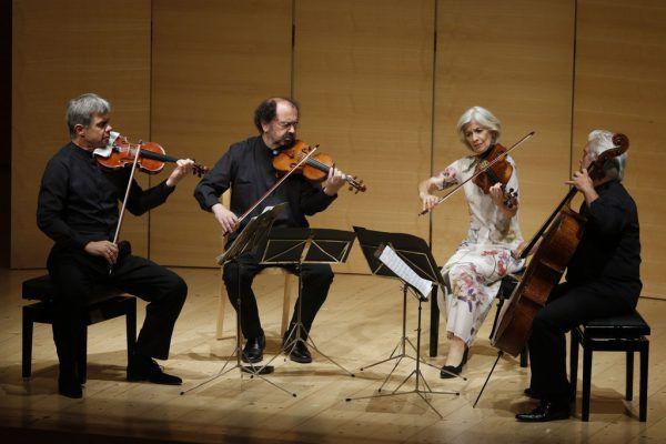 Oben das Hagen Quartett, links Geiger Paweł Zalejski vom Apollon Musagète Quartett.Schubertiade (2)