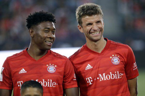 Alaba und Müller wollen nach dem Supercup weiterlachen.AP