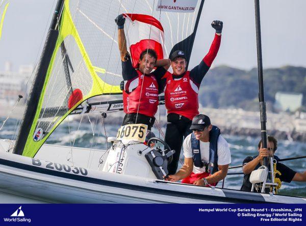 Das 49er-Duo Benjamin Bildstein und David Hussl feiert beim Weltcup in Enoshima den zweiten Rang.Sailing Energy