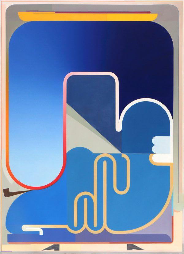 """Großes Bild: eine Malerei von Sarah Bechter (""""O.T., curtain flirting with stairs""""). Daneben ein neues Werk von Bernhard Buhmann (""""covfefe"""").Sarah bechter (1)/Bernhard Buhmann(1)"""