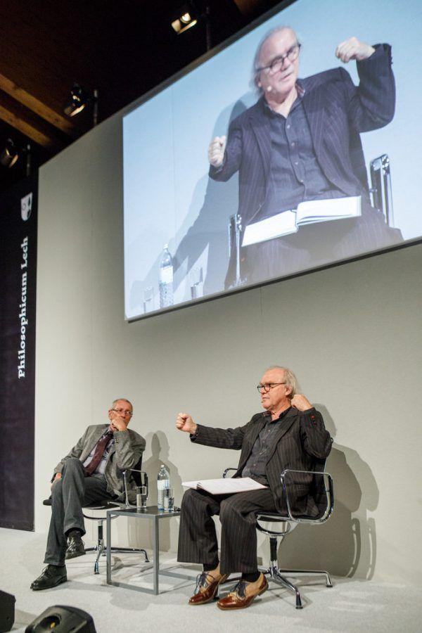 Konrad Paul Liessmann (l.) und Michael Köhlmeier beim traditionellen literarischen Vorabend des Philosophicums Lech.Florian lechner/Philosophicum lech (2)