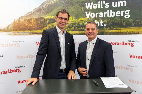 Markus Wallner und Norbert Sieber sprachen zum Thema Pflege.ÖVP/Daniel Mauche