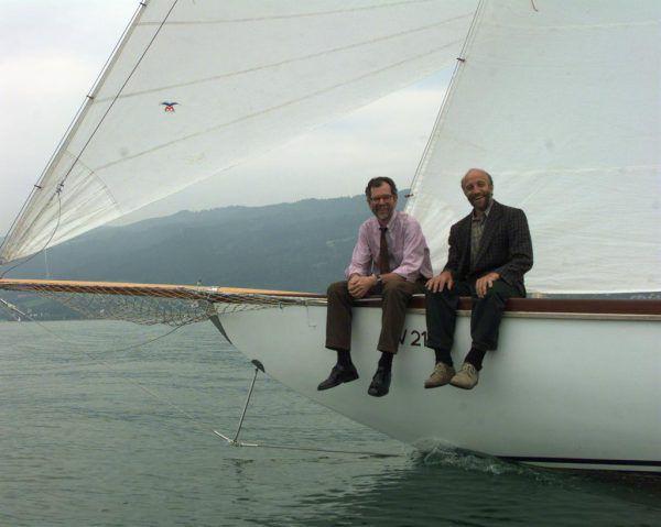Kaspanaze Simma (r.) mit dem heutigen Bundespräsidenten Alexander Van der Bellen 1998 auf dem Bodensee. Hartinger