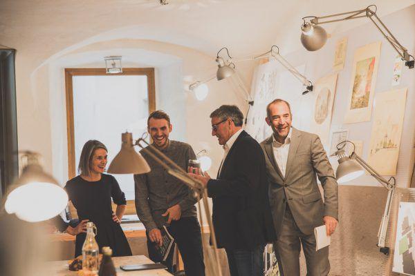 V.l.: Maya Kleber und Ingo Türtscher (Potentiale), Bürgermeister Wolfgang Matt und Edgar Eller. Nadine Jochum