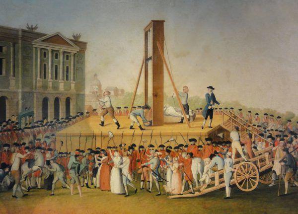 Links: Bild eines Unbekannten von der Enthauptung Marie-Antoinettes. Wikimedia Commons