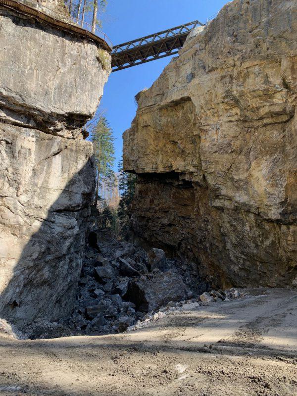 So sah es nach dem Felssturz in der Schlucht aus. Stadt Dornbirn