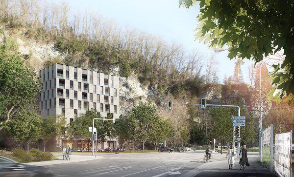 """Das alte Gasthaus """"Unterm Kapf"""" wurde 2007 abgerissen. Seitdem liegt das Grundstück am Fuße des Ardetzenbergs brach, lediglich Parkplätze befinden sich auf dem Areal. Nun soll es wieder bebaut werden.Hartinger, Dietrich Untertrifaller, NEUE Archiv"""