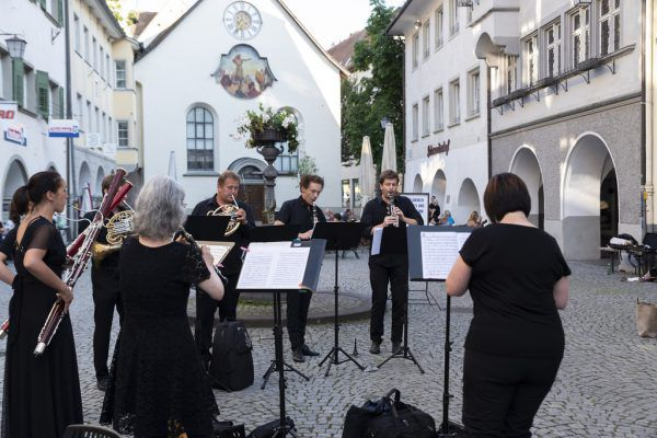 Das Ensemble Winds in der Marktgasse. Daniel Ongaretto-Furxer