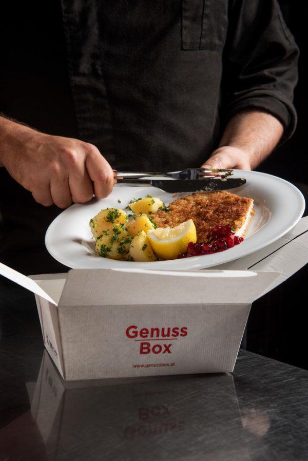 """Die Essensreste können in der """"Genuss Box"""" mit nach Hause genommen werden.Land Vorarlberg"""