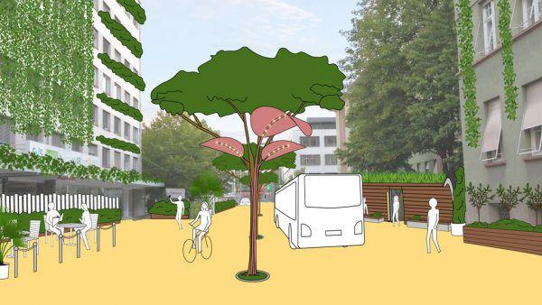 Die Montfortstraße soll laut den Grünen eine Begegnungszone werden.Grüne Bregenz