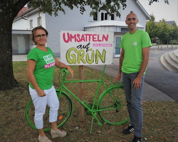 Fraktionsobfrau Michaela Anwander und Spitzenkandidat Paul Stampfl. Grüne und Parteifreie Wolfurt