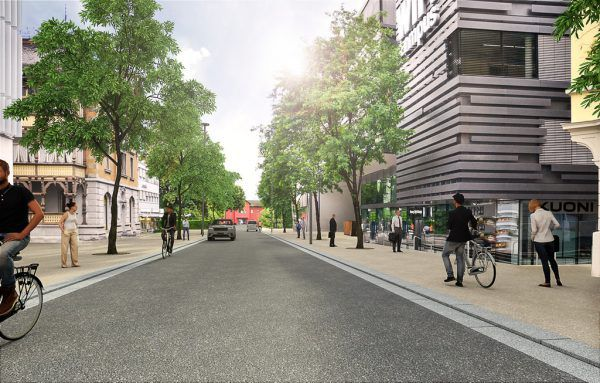 Im Herbst sollen die Bauarbeiten beendet sein. So soll die neue Bahnhofstraße dann aussehen.StadtDornbirn